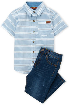 7 For All Mankind Toddler Boys) Two-Piece Poplin Button-Up Shirt & Jeans Set