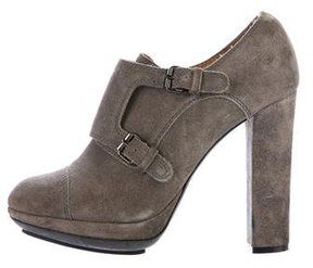 Lanvin Suede Buckle-Accented Booties