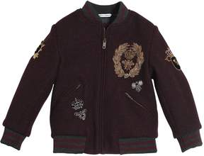 Dolce & Gabbana Embroidered Boiled Wool Bomber Jacket