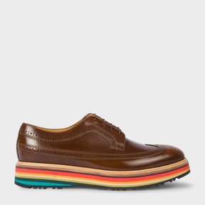 Paul Smith Men's Dark Tan Leather 'Grand' Brogues With 'Artist Stripe' Soles