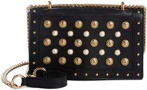 Balmain Love Studded Leather Shoulder Bag