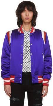 Amiri Blue Varsity Baseball Bomber Jacket