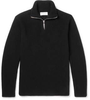 Officine Generale Walt Slim-Fit Ribbed Merino Wool Half-Zip Sweater