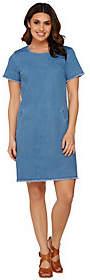 C. Wonder Short Sleeve Denim Dress with TrimDetails