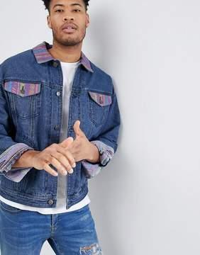Asos DESIGN oversized denim jacket with printed panels