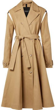 Calvin Klein Convertible Double-breasted Cotton-twill Trench Coat - Beige
