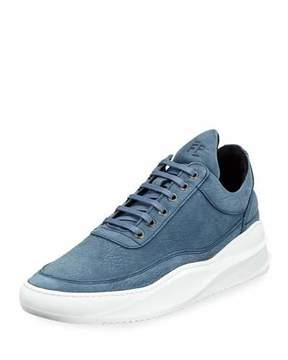 Filling Pieces Sky Low-Top Nubuck Leather Sneaker