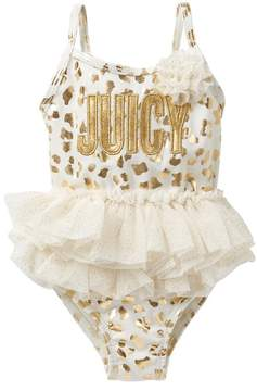 Juicy Couture Gold Foil Animal Print Tutu One Piece Swimsuit (Toddler Girls)