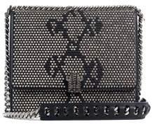 Roberto Cavalli Small Black Leather Gunmetal Stud Shoulder Bag