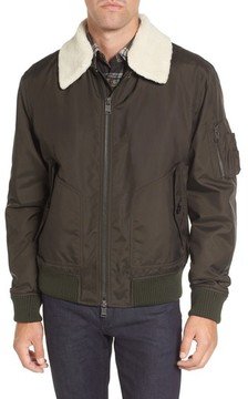 BOSS Men's Cobra Aviator Jacket With Faux Fur Collar