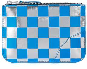 Comme des Garcons Blue And Silver Laminated Leather Purse