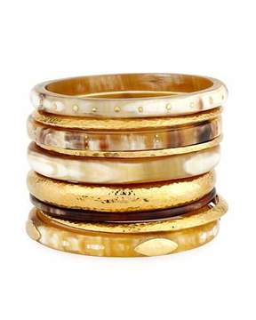 Ashley Pittman Light Horn & Bronze Stacking Bangles, Set of 9