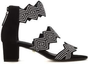 Kat Maconie Simone Heeled Sandals In Black Optical Suede