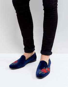 Asos Loafers In Navy Velvet With Rose Embroidery