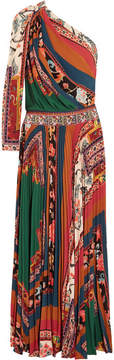 Etro One-shoulder Printed Crepe De Chine Maxi Dress - Green