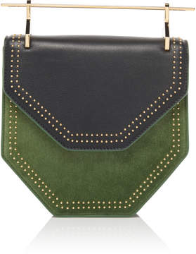 M2Malletier Studded Suede Amor Fati Hexagon Handbag