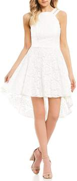 B. Darlin Double-Strap Lace High-Low Dress