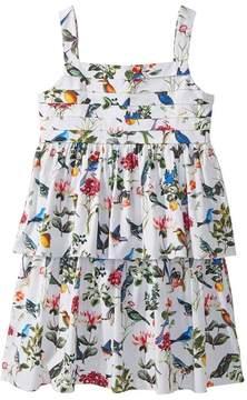 Oscar de la Renta Childrenswear Cotton Botanical Birds Pleated Dress Girl's Dress