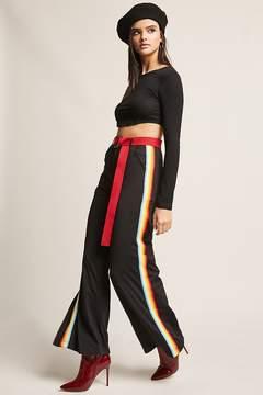 Forever 21 Multicolor Stripe Flare-Leg Pants