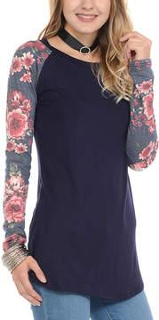 Celeste Navy Floral Raglan Top - Women
