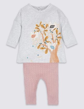 Marks and Spencer 2 Piece Pure Cotton Baby Dress with Leggings