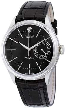 Rolex Cellini Date Black Dial 18kt White Gold Men's Watch