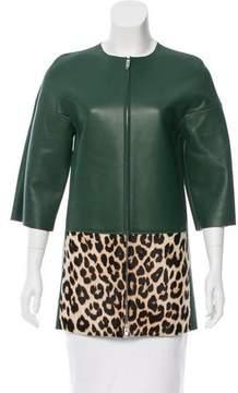 Celine Leather & Ponyhair Coat