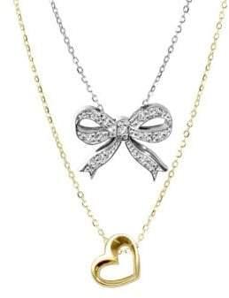Alex Woo Sterling Silver Double Pendant Diamond Necklace