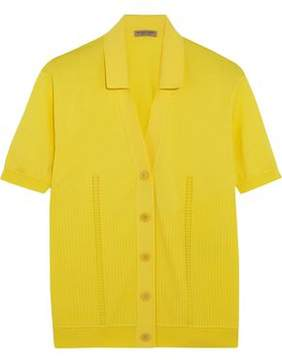 Bottega Veneta Pointelle-Knit Ribbed Cotton-Blend Top