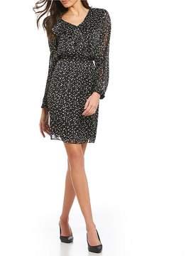 Isaac Mizrahi Imnyc IMNYC V-Neck Ruffle Long Sleeve Dress