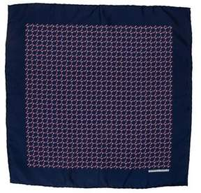 Hermes Silk Horseshoe Print Pocket Square