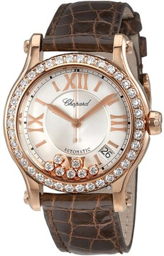 Chopard Happy Sport Silver Guilloche Dial Leather Strap Ladies Watch