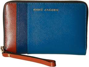 Marc Jacobs Saffiano Color Blocked Zip Phone Wristlet Wristlet Handbags - BRIGHT TEAL MULTI - STYLE