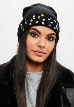 Missguided Black Gem and Pearl Beanie Hat