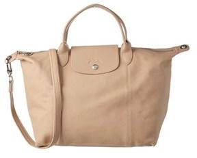 Longchamp Le Pliage Cuir Medium Leather Top Handle. - GREY - STYLE