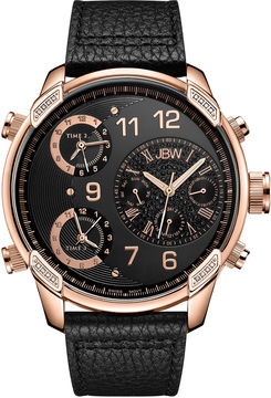 JBW The G4 Mens Diamond-Accent Black Leather Strap Watch J6248LG
