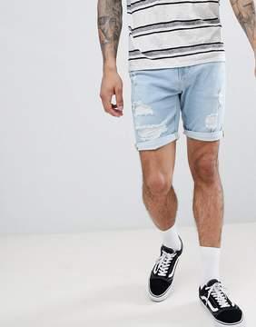 Pull&Bear Slim Fit Denim Shorts In Light Blue