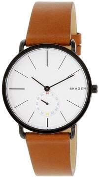 Skagen Hagen White Dial Brown Leather Men's Watch SKW6216