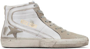 Golden Goose Deluxe Brand White and Grey Slide High-Top Sneakers