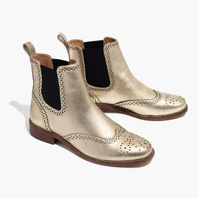 Madewell The Ivan Brogue Chelsea Boot in Metallic