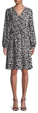 Isaac Mizrahi IMNYC Surplice Leopard-Print A-Line Dress