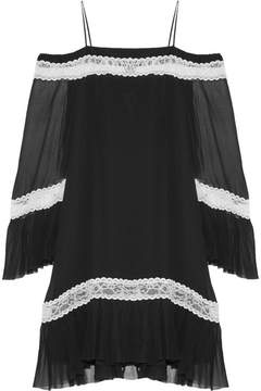 Alice + Olivia Alice Olivia - Willie Cold-shoulder Lace-trimmed Silk-chiffon Mini Dress - Black