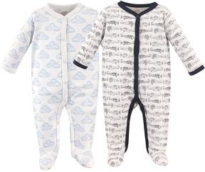 Hudson Baby Blue & White Cloud Playsuit Set - Infant
