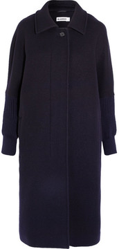 Jil Sander Oversized Knit-trimmed Wool-blend Coat - Navy