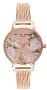 Olivia Burton Dot Design Stainless Steel & Mesh-Strap Watch
