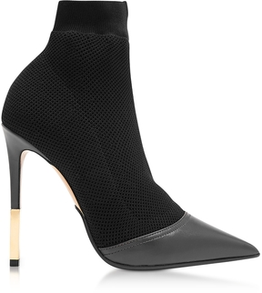 Balmain Aurore Black Point-toe Honeycomb-knit Ankle Boots