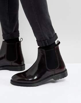 Asos Chelsea Boots In Burgundy Leather With Ribbed Sole