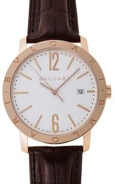 Bvlgari White Dial 18K Pink Gold Men's Watch