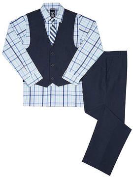 Izod Blue Heather Plaid Four-Piece Vest Set - Boys