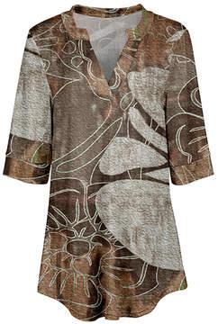 Azalea Brown & Beige Abstract V-Neck Tunic - Women & Plus